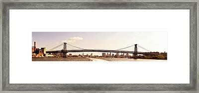 Williamsburg Bridge And The New York City Skyline Panorama Framed Print by Vivienne Gucwa