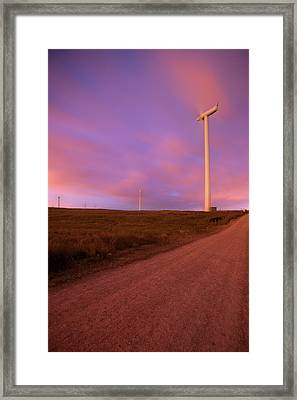 Wind Turbines At Night Framed Print by photography by Spencer Bowman
