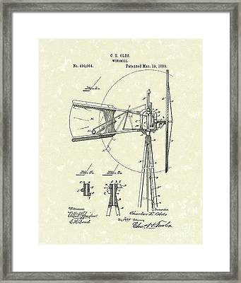Windmill 1889 Patent Art Framed Print by Prior Art Design