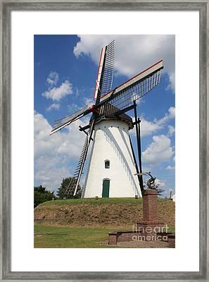 Windmill And Blue Sky Framed Print by Carol Groenen