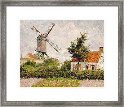 Windmill At Knokke Framed Print by Camille Pissarro