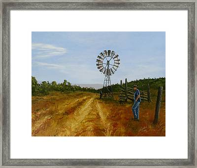 Windmill At Mandagery Framed Print by Anne Gardner