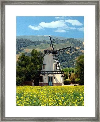 Windmill At Mission Meadows Solvang Framed Print by Kurt Van Wagner