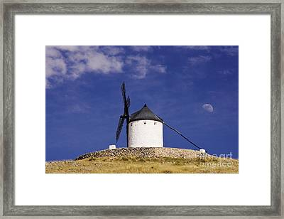 Windmill On Hilltop With Gibbous Moon Framed Print by Jeremy Woodhouse