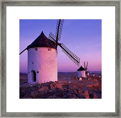 Windmills At Dawn, Castile-la Mancha Framed Print by Brian Lawrence