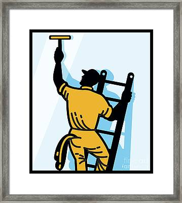 Window Cleaner Worker Cleaning Ladder Retro Framed Print by Aloysius Patrimonio