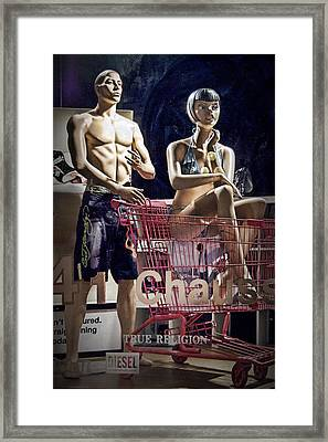 Shopping Cart Framed Print featuring the photograph Window Display With Mannequins And Shopping Cart by Randall Nyhof