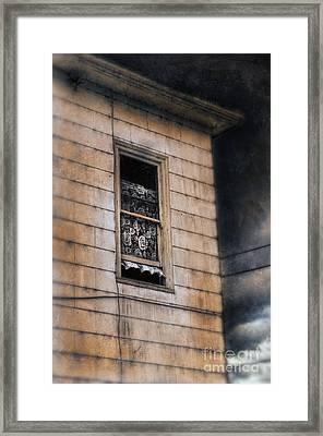 Window In Old House Stormy Sky Framed Print by Jill Battaglia