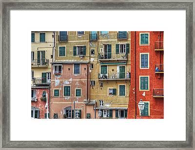 Windows Of Camogli Framed Print by Joana Kruse