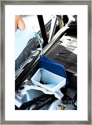 Windshield Cleaning Fluid Framed Print by Photo Researchers