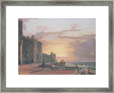Windsor Castle North Terrace Looking West At Sunse Framed Print by Paul Sandby