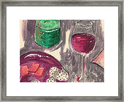 Wine And Cheese Framed Print by Suzanne Blender