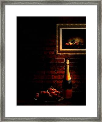 Wine And Grape Framed Print by Lourry Legarde