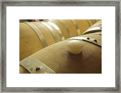 Wine Barrel Detail In Cellar At Winery Framed Print by James Forte