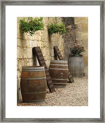 Wine Barrels And Racks In Saint Emilion France Framed Print by Greg Matchick