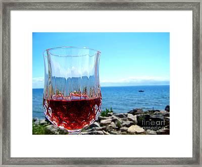 Wine By The Water Framed Print by Deborah MacQuarrie-Haig