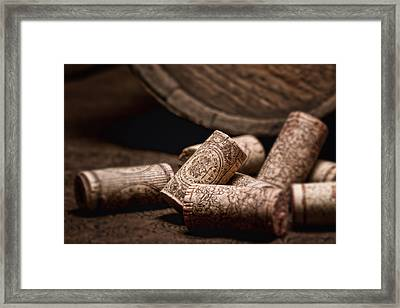 Wine Corks And Barrel Still Life Framed Print by Tom Mc Nemar