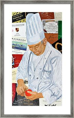 Wine Label Chef Framed Print by Michael Lee