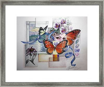 Wings With Hearts Framed Print by Elizabeth Shafer