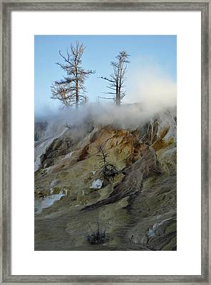 Winter At Yellowstone's Mammoth Terrace Framed Print by Bruce Gourley