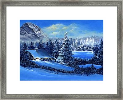 Winter Cabin Framed Print by Bonnie Cook