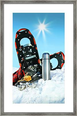 Winter Fun With Hot Chocolate And Cookies In The Snow Framed Print by Sandra Cunningham