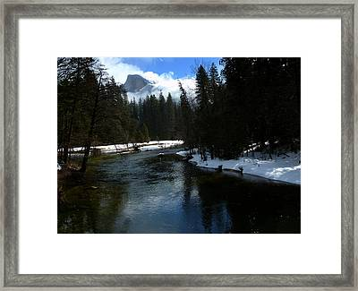 Winter Half Dome And The Merced River Framed Print by Jeff Lowe