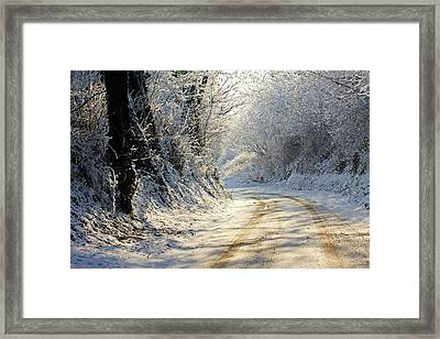 Winter In Small Countryside Road Framed Print by © Frédéric Collin