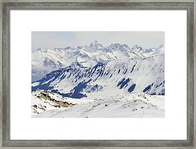 Winter In The Alps - Snow Covered Mountains Framed Print by Matthias Hauser