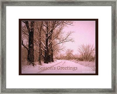 Winter Pink Season's Greetings Framed Print by Carol Groenen