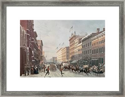Winter Scene On Broadway Framed Print by American School