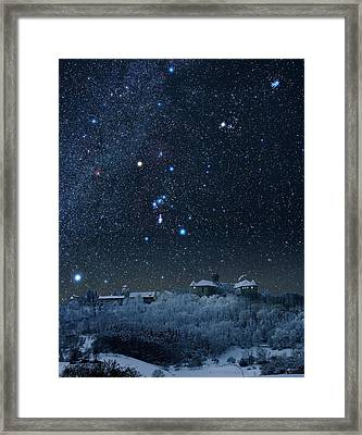 Winter Sky With Orion Constellation Framed Print by Eckhard Slawik