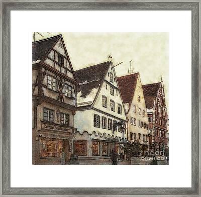 Winterly Old Town Framed Print by Jutta Maria Pusl