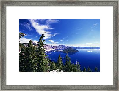 Wizard Island At Crater Lake National Framed Print by Natural Selection Craig Tuttle
