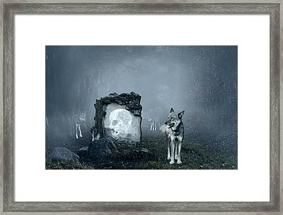 Wolves Guarding An Old Grave Framed Print by Jaroslaw Grudzinski