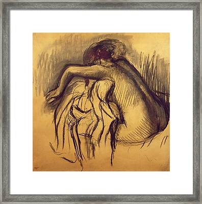 Woman Drying Framed Print by Edgar Degas