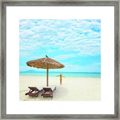 Woman Enjoy Sun Framed Print by MotHaiBaPhoto Prints