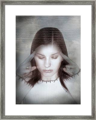Woman Holding Her Temples Framed Print by Miriam Maslo