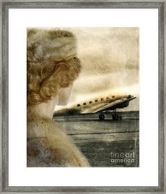 Woman In Fur By A Vintage Airplane Framed Print by Jill Battaglia