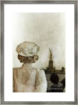 Woman In Hat Viewing The Statue Of Liberty  Framed Print by Jill Battaglia