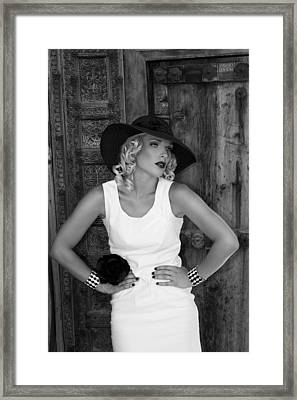 Woman In White  Bw Framed Print by William Dey