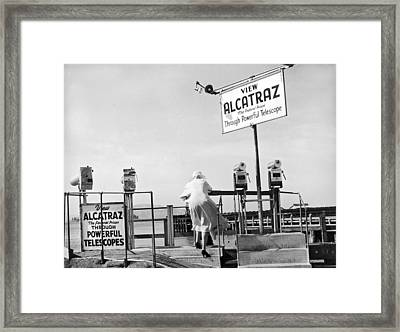 Woman Looking At Alcatraz Framed Print by Underwood Archives