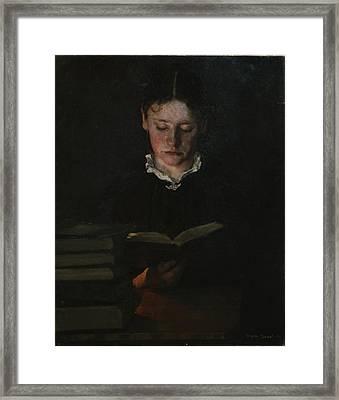 Woman Reading Framed Print by Signe Scheel