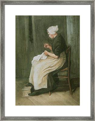 Woman Sewing Framed Print by Vincent Van Gogh