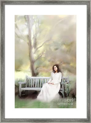 Woman Sitting On Park Bench Framed Print by Stephanie Frey