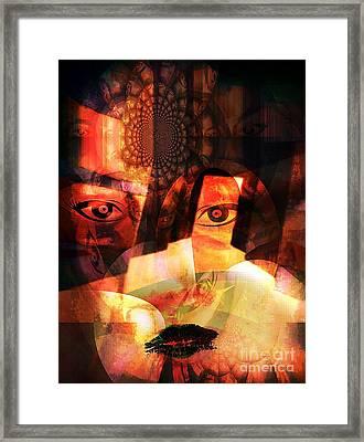 Woman Spirit At The Door  Framed Print by Fania Simon