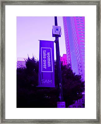 Woman Take Over In Purple Framed Print by Kym Backland