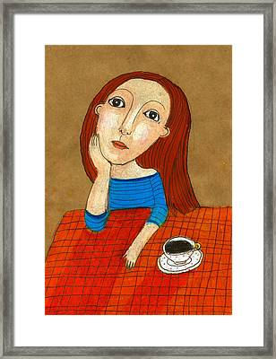 Woman Thinking Framed Print by Jenny Meilihove