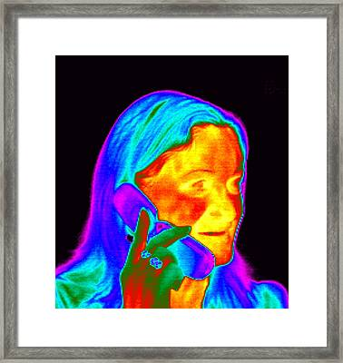 Woman Using A Mobile Phone, Thermogram Framed Print by Dr. Arthur Tucker