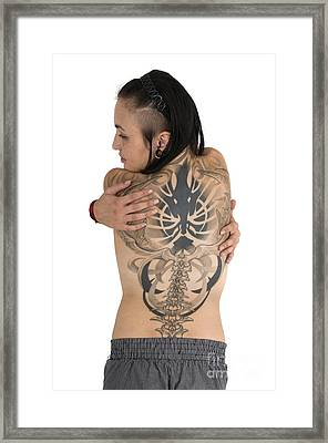 Woman With Large Tattoo On Her Back Framed Print by Ilan Rosen